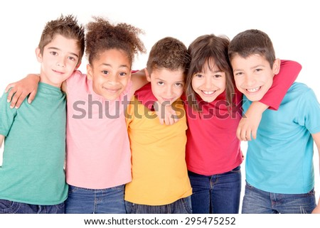 group of kids isolated in white
