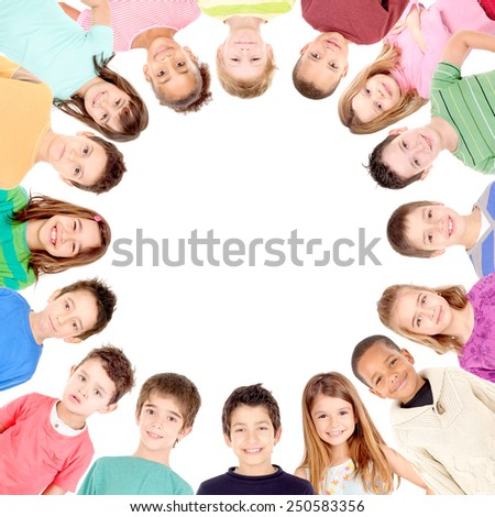 group of kids isolated in white background - stock photo