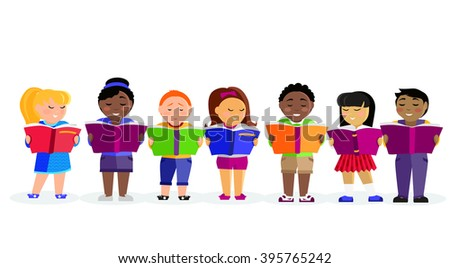 Group of kids studying and learning together. Boys and girl reading books. Various nationalities students reading books. Reading kid. Reading student. Kid reading open book. back to school - stock photo