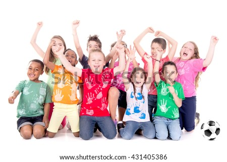 group of kids with soccer ball posing isolated in white - stock photo