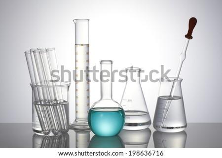 Group of laboratory flasks - stock photo