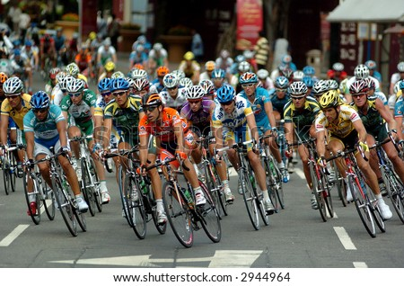 group of Le Tour cyclist - stock photo