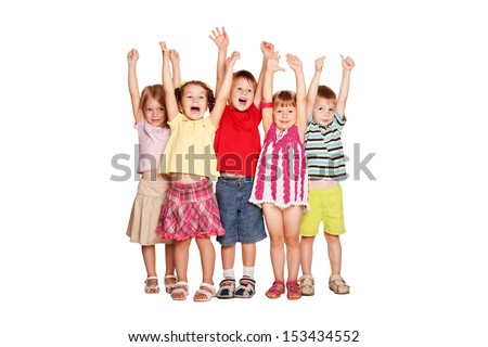 Group of little children raising hands up and smiling, ready for your text or symbols. Isolated on white background - stock photo