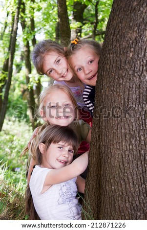 Group of little girls have a nice time together - stock photo
