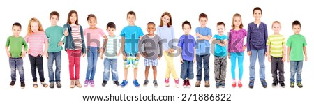 group of little kids isolated in white background - stock photo