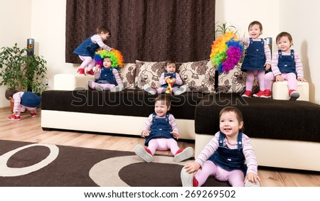 Group of little playful active child - stock photo