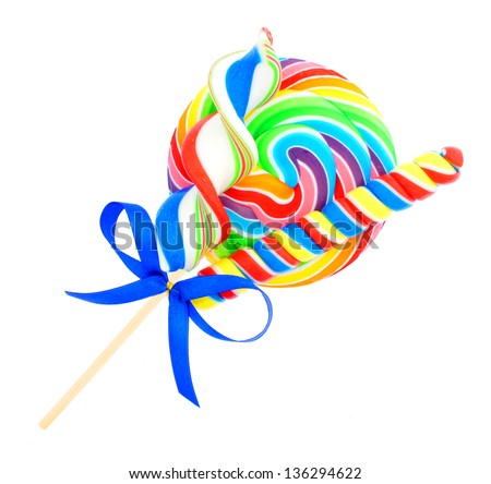 Group of lollipop candies with bow isolated on white - stock photo