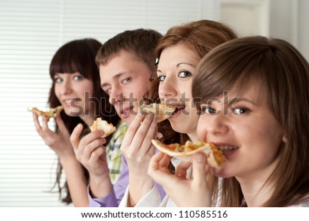Group of lovely young people had a great time with each other - stock photo