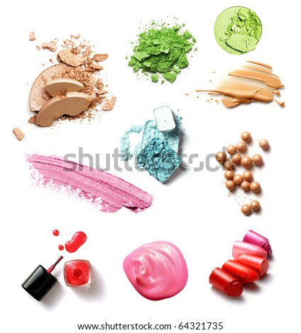 group of make-up products isolated on white