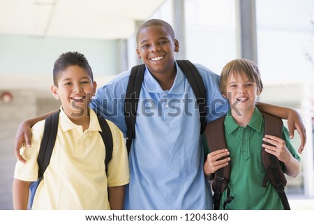 Group of male elementary school friends - stock photo