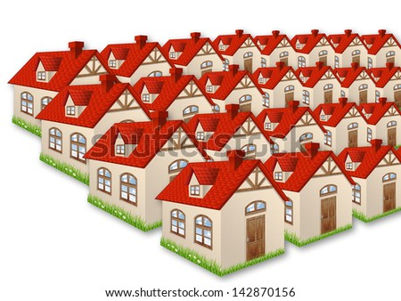 Group of many houses  - stock photo