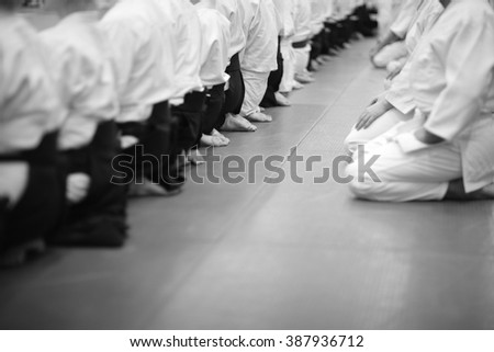 Group of martial arts practitioners sitting in seiza position - stock photo
