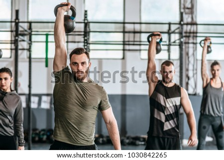 Group Men Women Lifting Weights Crossfit Stock Photo Royalty Free