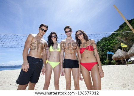 Group of men and women spending time at the beautiful beach,Boracay in Philippine