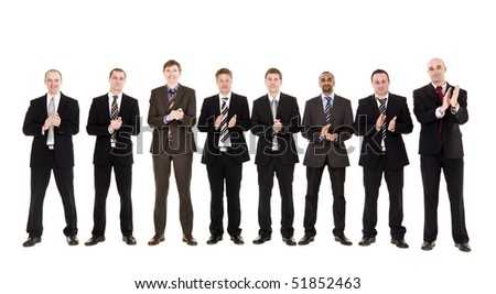 Group of men clapping hands isolated on white background - stock photo