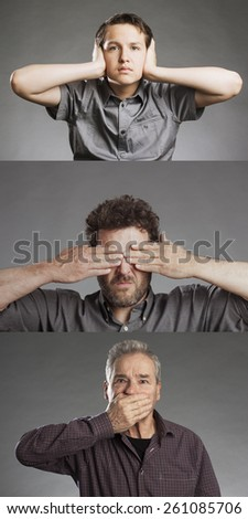 Group of men, sees no evil, hears no evil, speaks no evil - stock photo