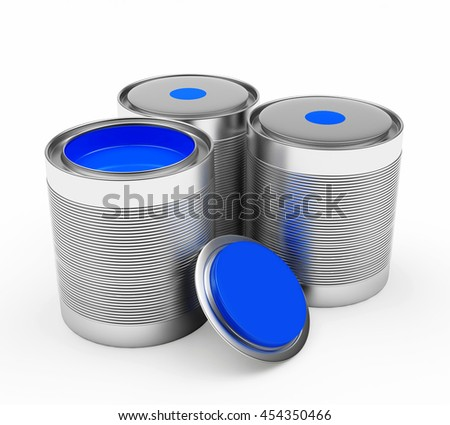 Group of metal cans with blue paint isolated on a white background. 3D illustration - stock photo