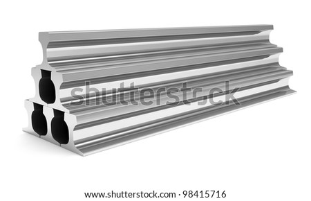 Group of Metal Rails isolated on white background - stock photo