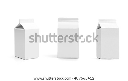 Group of milk boxes. Retail package mockup set. Half liter boxes isolated on white. White boxes with original shadow - stock photo