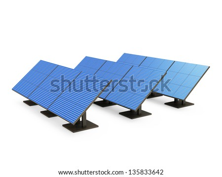 Group of Modern Solar Panels isolated on white background. Alternative Energy Concept - stock photo