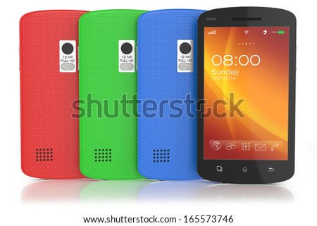 Group of modern touchscreen smartphones.  - stock photo
