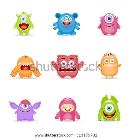 Group of monster alien mutant colorful character set isolated  illustration
