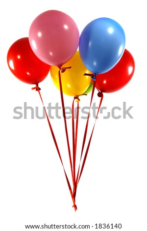 group of multi-colored balloons with red trailers on white background - stock photo