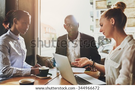 Group of multi ethnic business people at a meeting, small business entrepreneur concept - stock photo