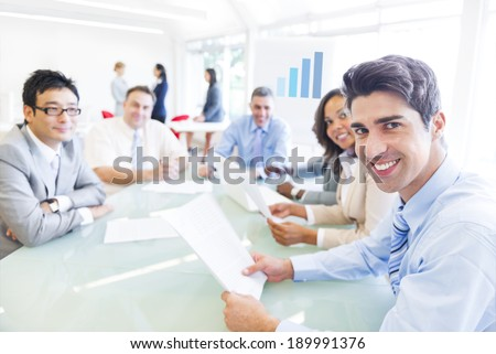 Group of Multi Ethnic Corporate People Having a Meeting - stock photo