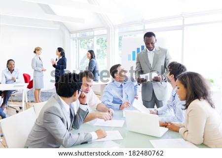Group of Multi Ethnic Corporate People In a Business Meeting - stock photo