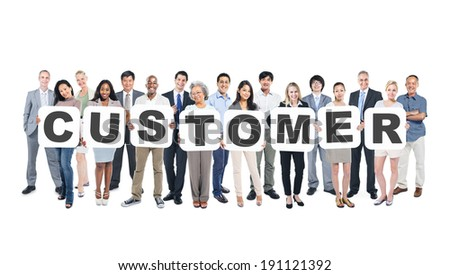 Group Of Multi-Ethnic Group Of Business People Holding Placards Forming Customer - stock photo