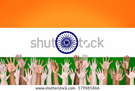 Group of Multi-Ethnic People Hands with Indian Flag Background - stock photo