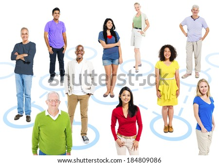 Group of multi-ethnic people in a connection themed picture.