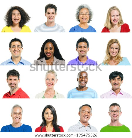 Group of multi ethnic people smiling.