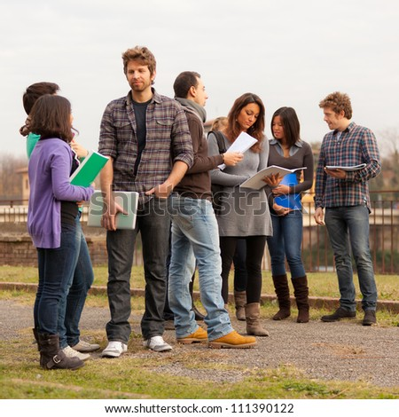 Group of Multicultural College Students - stock photo