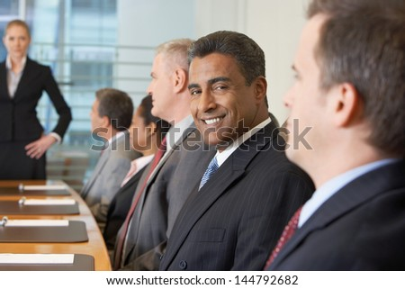 Group of multiethnic business people in meeting at conference room - stock photo