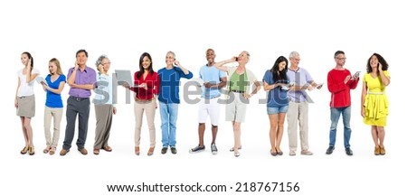 Group of Multiethnic Diverse People Using Digital Devices