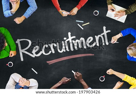 Group of Multiethnic People Discussing Recruitment - stock photo