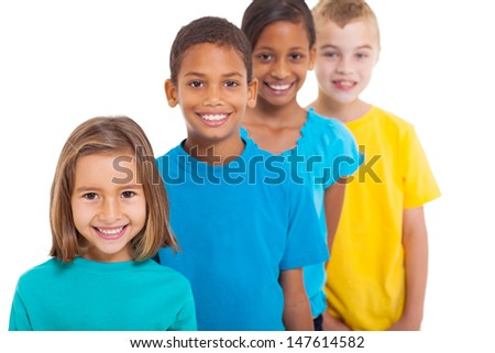 group of multiracial children portrait in studio on white background - stock photo