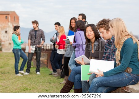 Group of Multiracial College Students - stock photo