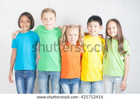Group of multiracial funny children. World Conference for Well-being of Children in Geneva, Switzerland, at June 1 to be International Children's Day. Universal Children's Day, falls on 20 November. - stock photo