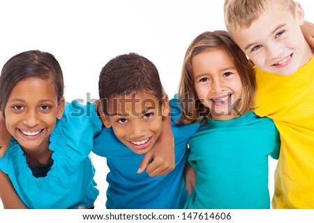 group of multiracial kids portrait in studio on white background - stock photo