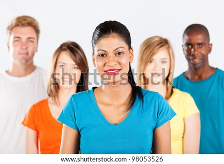group of multiracial people on white background - stock photo