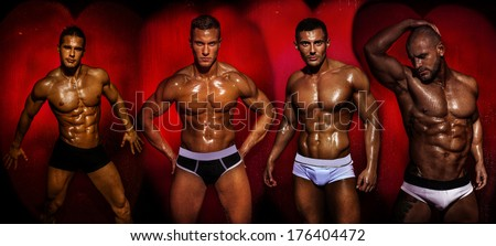 Group of muscular young sexy wet naked handsome man posing. Valentine's day. - stock photo