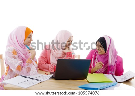 Group of muslim girls having discussion - stock photo