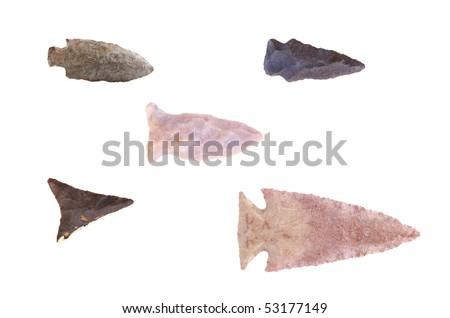 Group of Native American arrowheads found in Eastern Kentucky isolated on a white background. - stock photo