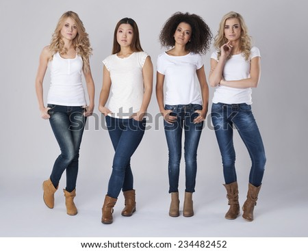 Group of natural beautiful women