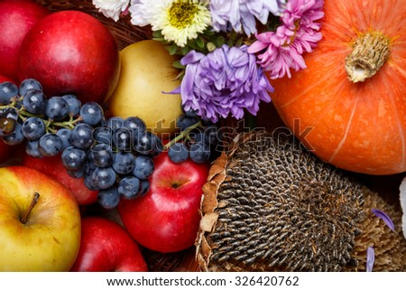 Group of natural healthy organic autumnal fruits and vegetables - stock photo