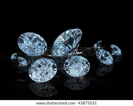 group of nine diamonds on black background - stock photo