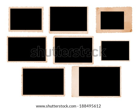 Group of nine vintage photo frames with straight edges - stock photo